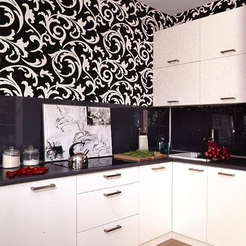 темные обои на кухне фото