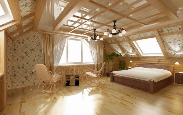 Комната на втором этаже деревянного дома дизайн