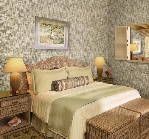 Обои рогожка в интерьере спальни